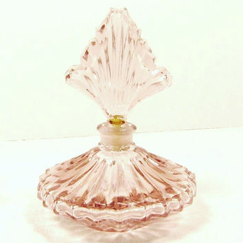 Vintage Pink Glass Perfume Bottle w/ Glass Dabber Fan Ribbed