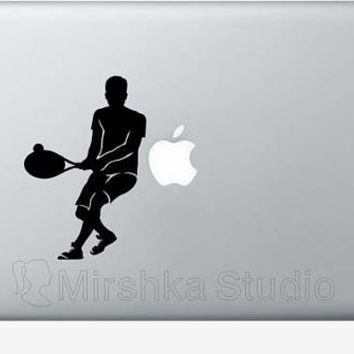 Tennis Player Light Switch Decal - Teen Room Wall Art - Sports Wall Decor - Tennis Racket Laptop Sticker - iPhone Stickers - Tennis Gifts