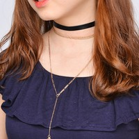 Simple All-match PU Leather Cord Necklace Triangular Metal Multilayer Pendant Necklace   171124