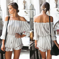 White Striped Cut Out Off Shoulder Romper