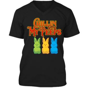 Chilling With My Peeps T-shirt Cool Easter Bunny Rabbit Tee Mens Printed V-Neck T