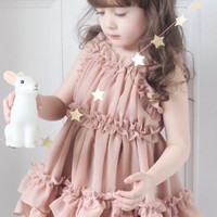 Light Brown Designer Infant Dress for Summers With Patterned Flare