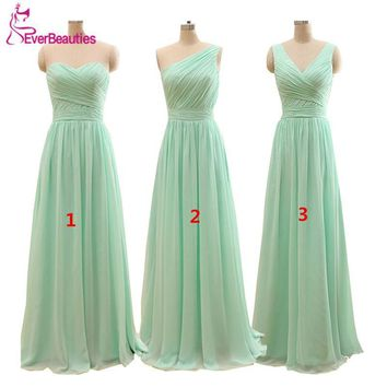 Mint Green Long Chiffon A Line Pleated Bridesmaid Dress Under 50 Wedding Party Dress 2016