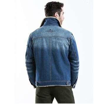 mens fashion winter jackets retro denim jackets and coat warm fleece jeans jackets parkas wind breaker male denim fur jackets