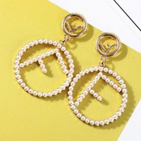FENDI letter pearl earring temperament simple joker silver pin ornaments earrings