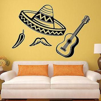 Wall Decal Latin America Sombrero Chile Guitar Vinyl Stickers Art Mural Unique Gift (ig2594)