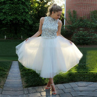 White Beads Homecoming Dress, White Cocktail Dresses