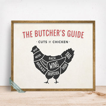 Butchers Guide Chicken Print, Cuts Of Chicken, Chicken Poster, Kitchen Decor, Chicken Cuts, Butcher Print, Home Decor, Fathers Day Gift