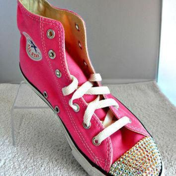 DCCK8NT glass slippers swarovski crystal pink chuck taylor converse high top all star girls yo