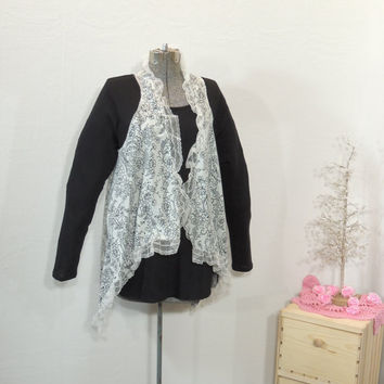S-XL Black / White  Cotton Floral Vest / Upcycled Recycled Eco Romantic Lace Vest / Boho Chic Cardigan Jacket /By Tattered Fx