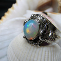 Natural Opal Ring Sterling Silver 5.08 grams Size 8