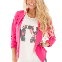 Hot Pink Cinched Sleeve Blazer