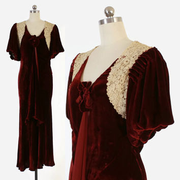 Vintage 30s DRESS / 1930s Burgundy Silk Velvet & Ivory Crochet Bias Cut Evening Gown S