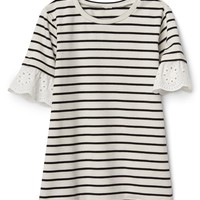 Eyelet Stripe Dress|gap