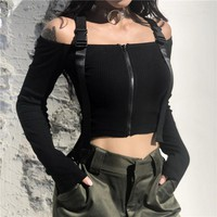 2018 New Autumn Winter Buckles Zipper T Shirt Long Sleeve Femme Clothing Tee Navel Bare Cropped Mujer Tops Ribbed Black TShirts