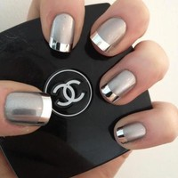 Nail Art - Silver with silver tips!