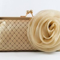 ANGEE W. Glamorous - Gold Satin Clutch with large organza rosebud - 8