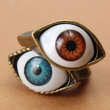 Vintage Retro Punk Fashion Bronze Evil Eye Finger Ring Blue/Brown Eyeball Rings = 1946308420