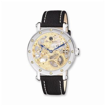 Charles Hubert Mens Leather Band Gold-tone Skeleton Dial Watch