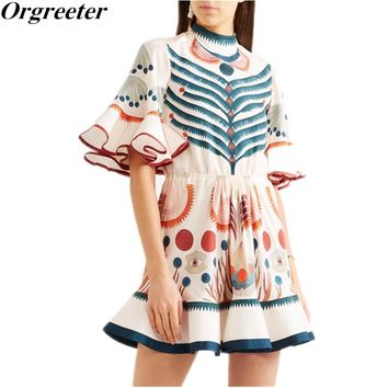 harajuku Dress for Lady 2018 summer New Women Runway Designer Print Flare Sleeve Ruffle mini Dress bohemia fish tail boho dress