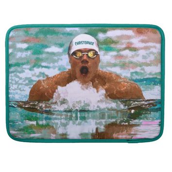 Swimmer Athlete In Pool With Water Drops Painting Sleeves For MacBook Pro
