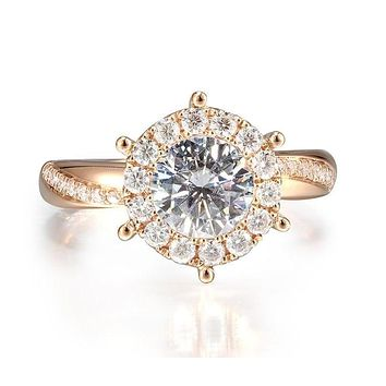 A Shinning 9K Rose Gold Halo Moissanite Engagement Ring