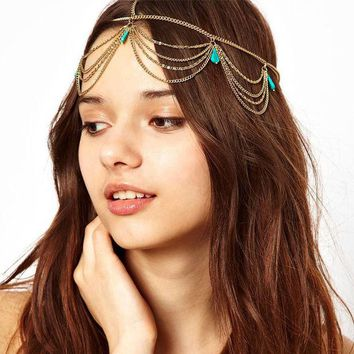 LMFONJ 2016 Hot Sale Fashion plated Gold Head Chain Pieces Women Boho Headpiece Headband Metal Chain Hair Head Wrap Jewelry