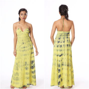 Vintage 1970s Lime Green Halter Tie Dye John Kloss for Cira Negligee