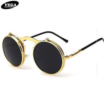 VEGA Best Flip Up Sunglasses Men Women Steam Punk Glasses Round Steampunk Sunglasses Circle Glasses Vintage Spectacles 3057