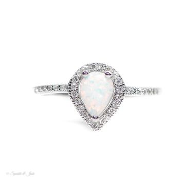 Sterling Silver White Opal Teardrop Halo Ring