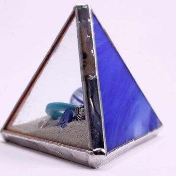 Blue Art Glass Paperweight Blue Glass Library Decor Stained Glass Art Colored Glass Office Accessory Multicolored Glass Desk Toy