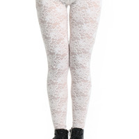 ROMWE | ROMWE White Embroidered Lace White Leggings, The Latest Street Fashion