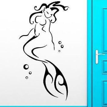 Wall Decal Mermaid Marine Ocean Bathroom Decor Vinyl Stickers Art Mural Unique Gift (ig2559)
