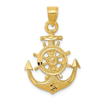 14K Yellow Gold Satin Diamond Cut Anchor Pendant