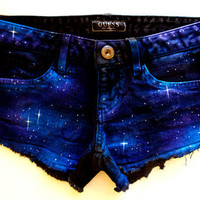 Beautiful Hand Painted Galaxy Black Denim by GirlMeetsClothes
