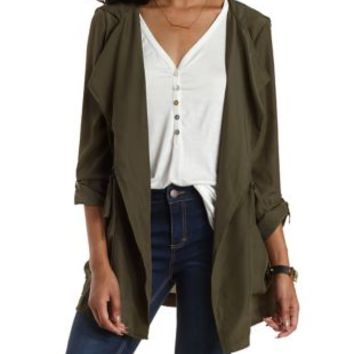 Olive Draped Silky Hooded Anorak Jacket by Charlotte Russe