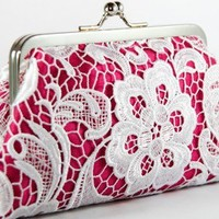 ANGEE W. LHeritage Legacy - White Lace Clutch in Fuchsia - 7-inch | ANGEEW - Wedding on ArtFire