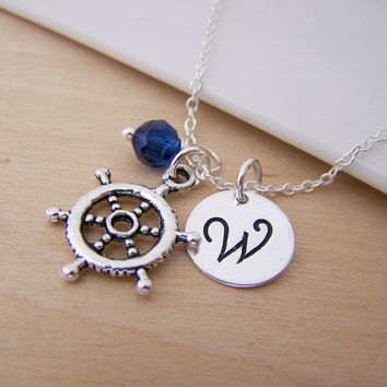 Nautical Ship Wheel Helm Charm Swarovski Birthstone Initial Personalized Sterling Silver Necklace / Gift for Her