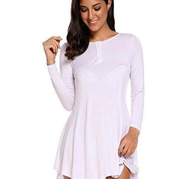 Zeagoo Womens Long Sleeve Tunic Top Button Down Loose Flowy Shirt Dress