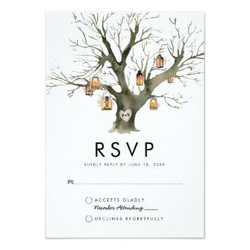 Rustic Lanterns Carved Oak Tree Wedding RSVP Card
