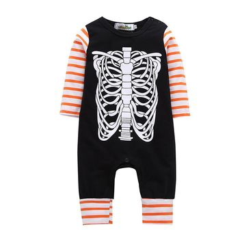 Newborn Baby Boys Girls Romper 2017 Fashion Skeleton Print Happy Halloween Stripe Romper Jumpsuit Outfits Clothes