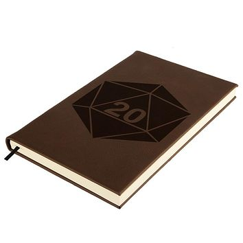 D20 Dice Table Top RPG Brown Leatherette Journal