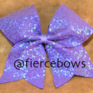 Light Purple Pearl Sequin Cheer Bow