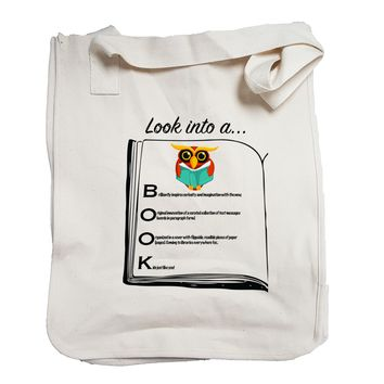 Look into a BOOK Canvas Tote Bag made from Organic Cotton