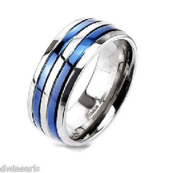 Men's Blue Bands Stainless Steel Cz Wedding Band