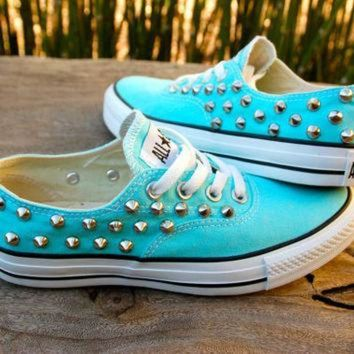DCCKHD9 Studded Converse - Tiffany Blue Converse Low Top that look like Vans
