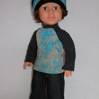 18 inch boy doll clothes, crochet beanie hat, graphic print baseball tee, dark denim wide leg jeans