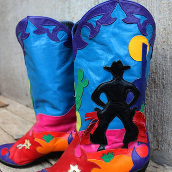 Vintage Womens Zalo Western Leather Boots Colorful Size 7.5