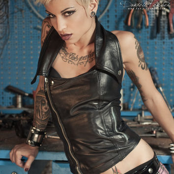 Leather Halter Top Black Biker Corset Sexy Motorcycle Vest Soft Italian Nappa Heavy Metal Clothing Lace Up Rocker Vamp Metalhead Apparel