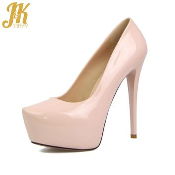 J&K 2017 New Arrival Sexy Super High Heel Party Pumps Charming Women Shoes Female Footwear Slip On 14 Colors Platform Pumps